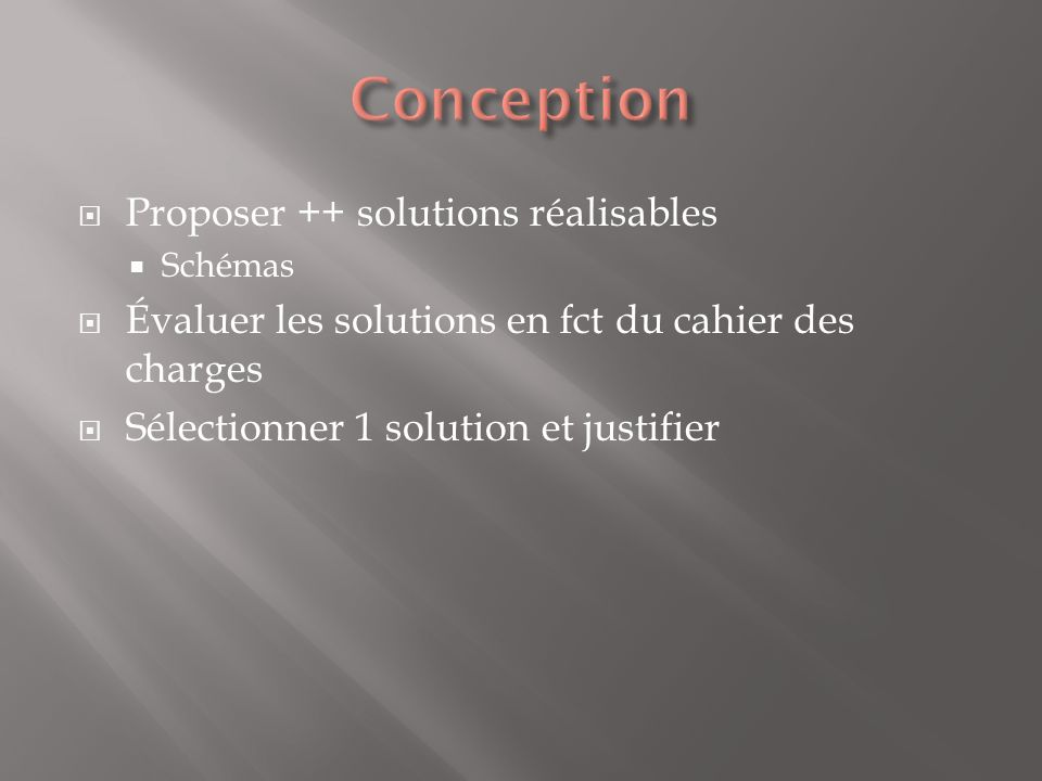 Conception Proposer ++ solutions réalisables
