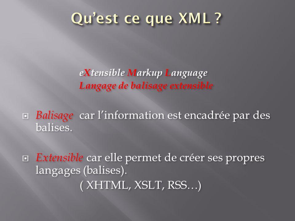 Qu'est ce que XML eXtensible Markup Language. Langage de balisage extensible Balisage car l'information est encadrée par des balises.