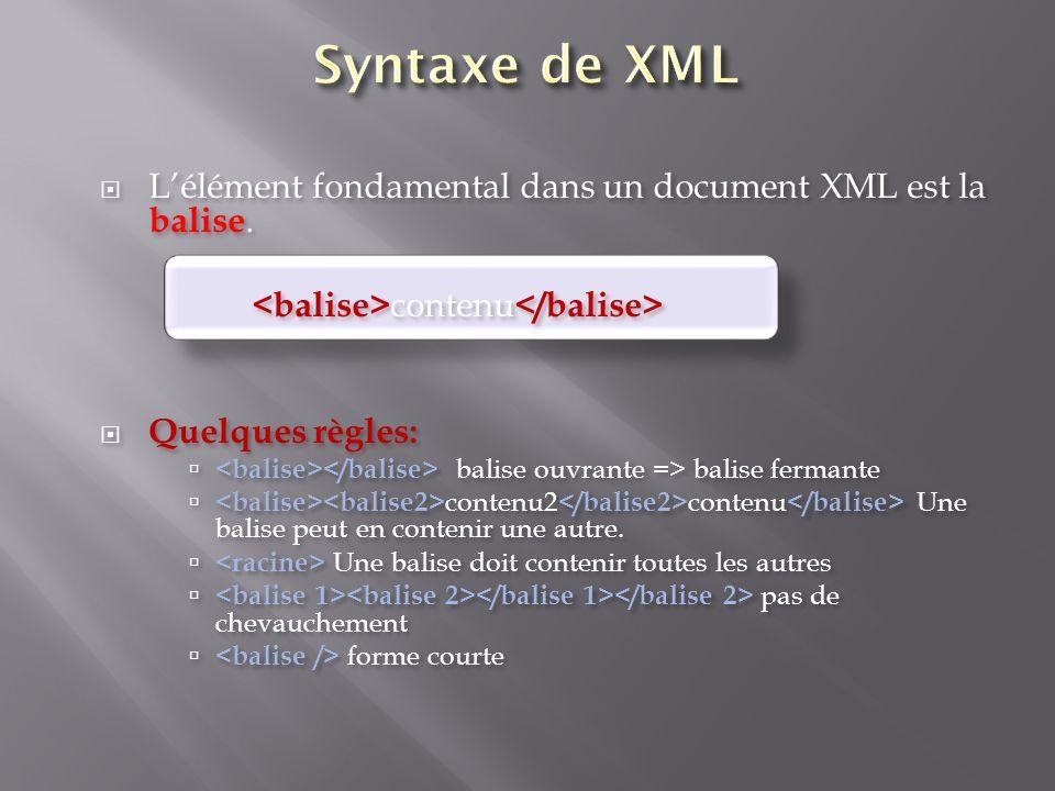 Syntaxe de XML L'élément fondamental dans un document XML est la balise. <balise>contenu</balise> Quelques règles: