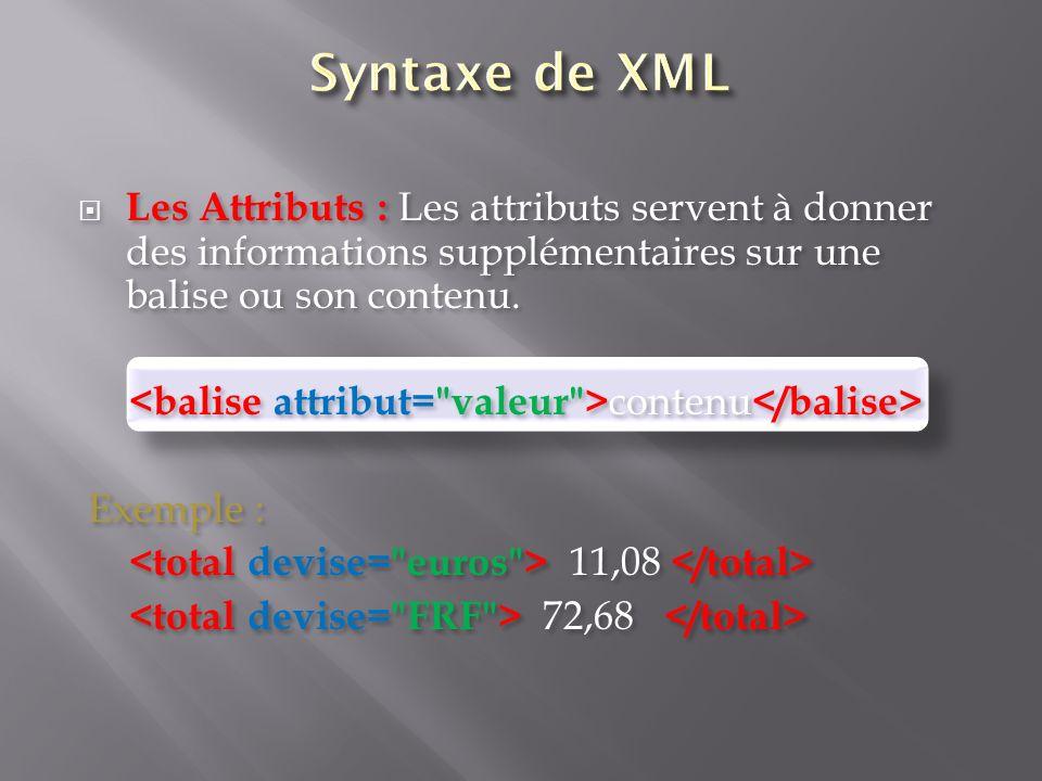 Syntaxe de XML Les Attributs : Les attributs servent à donner des informations supplémentaires sur une balise ou son contenu.