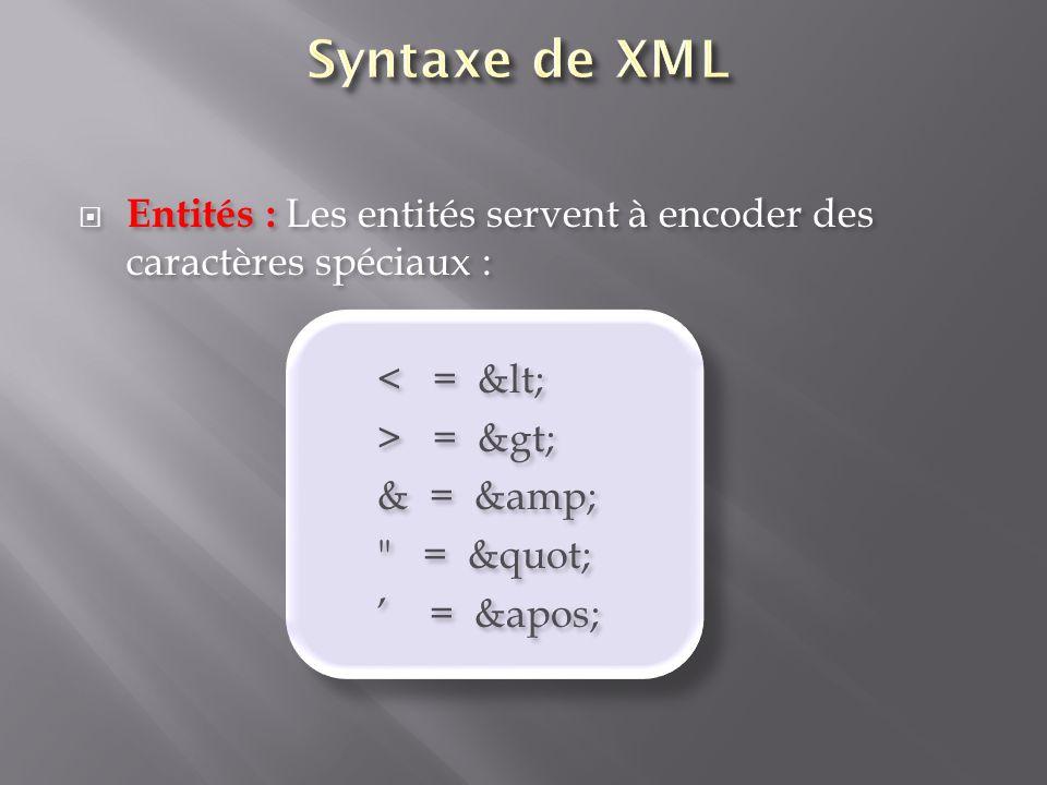 Syntaxe de XML Entités : Les entités servent à encoder des caractères spéciaux : < = < > = >