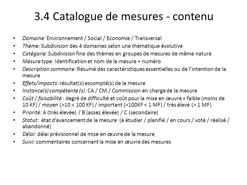 3.4 Catalogue de mesures - contenu