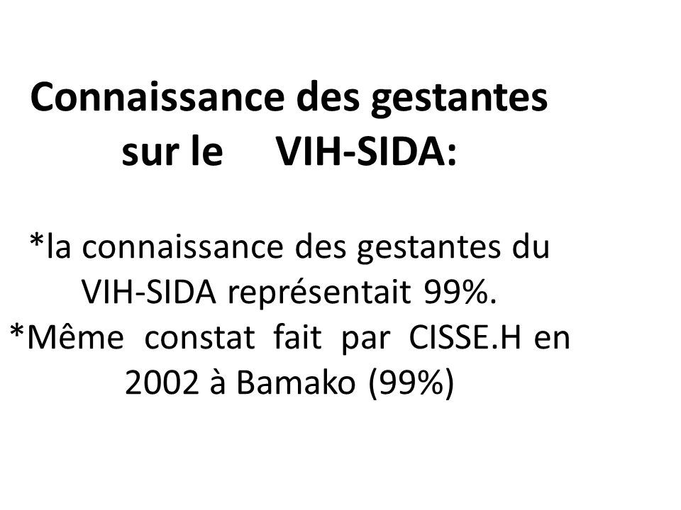 Connaissance des gestantes sur le VIH-SIDA: