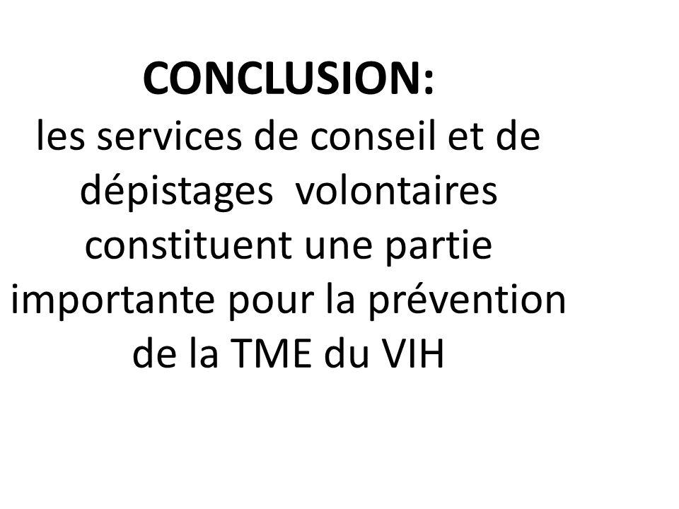 CONCLUSION: les services de conseil et de dépistages volontaires constituent une partie importante pour la prévention de la TME du VIH