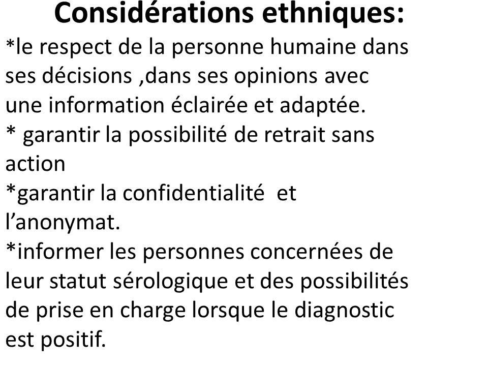 Considérations ethniques: