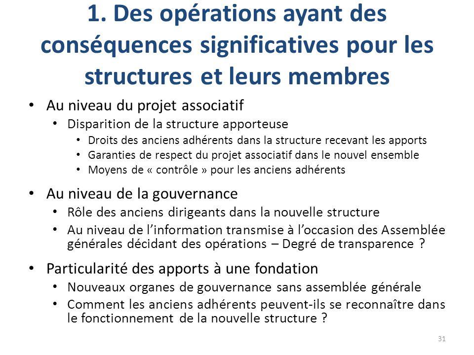 1. Des opérations ayant des conséquences significatives pour les structures et leurs membres