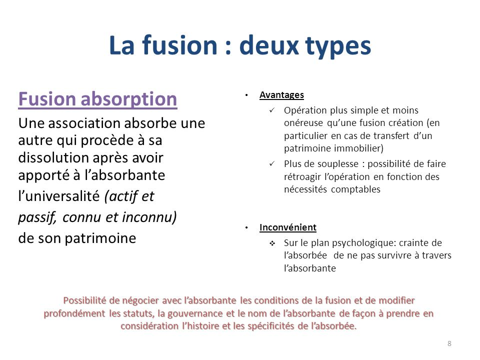 La fusion : deux types Fusion absorption