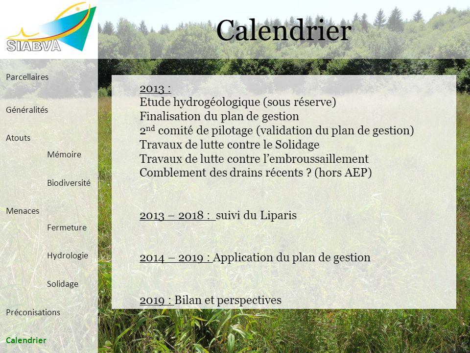 Calendrier 2013 : Etude hydrogéologique (sous réserve)