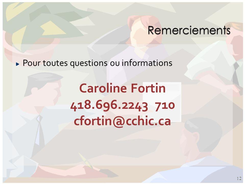 Caroline Fortin 418.696.2243 710 cfortin@cchic.ca