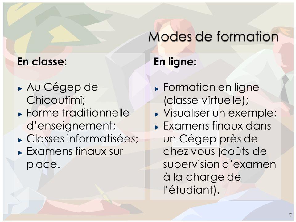 Modes de formation En classe: En ligne: Au Cégep de Chicoutimi;