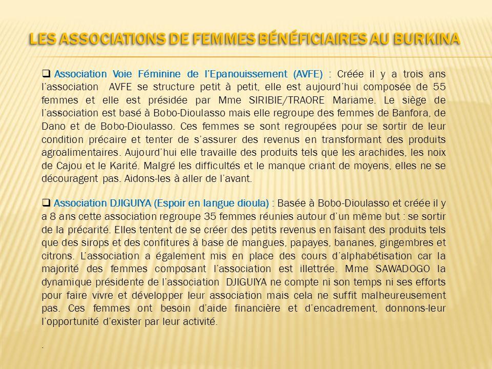 Les Associations de femmes bénéficiaires au Burkina