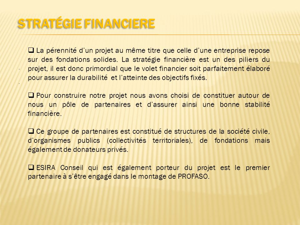 Stratégie FINANCIERE