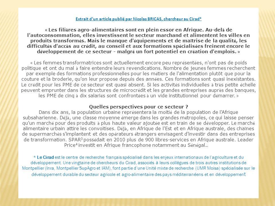 Extrait d'un article publié par Nicolas BRICAS, chercheur au Cirad*