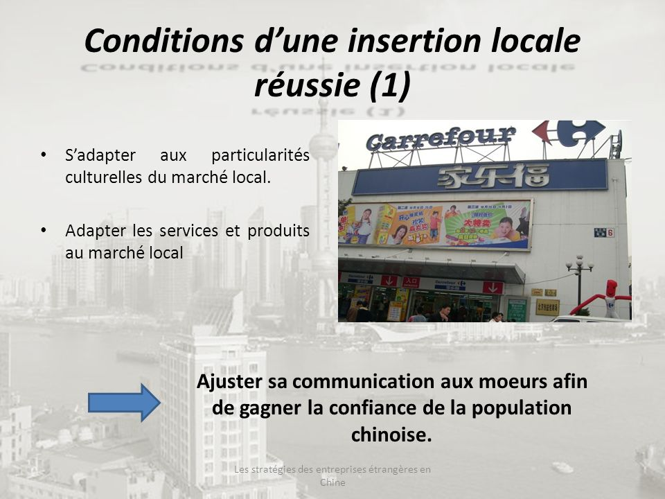 Conditions d'une insertion locale réussie (1)