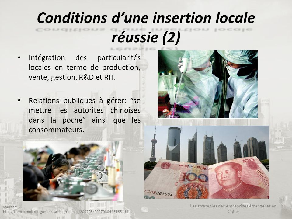 Conditions d'une insertion locale réussie (2)