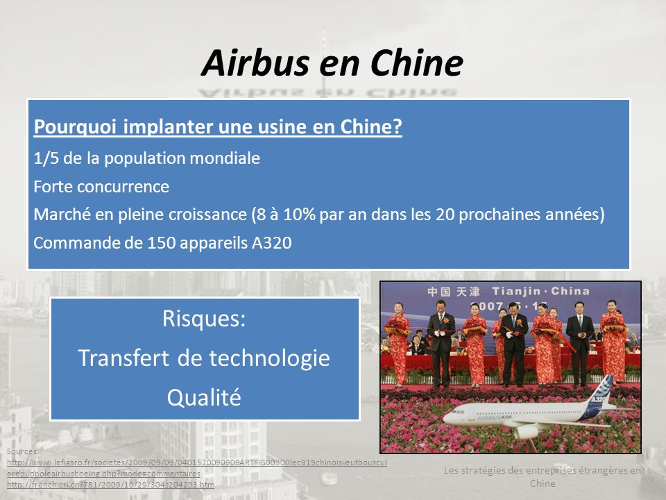 Airbus en Chine Pourquoi implanter une usine en Chine