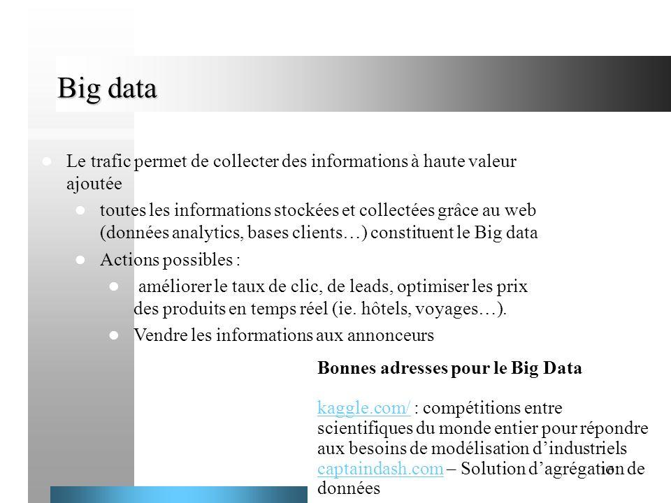 Big data Le trafic permet de collecter des informations à haute valeur ajoutée.