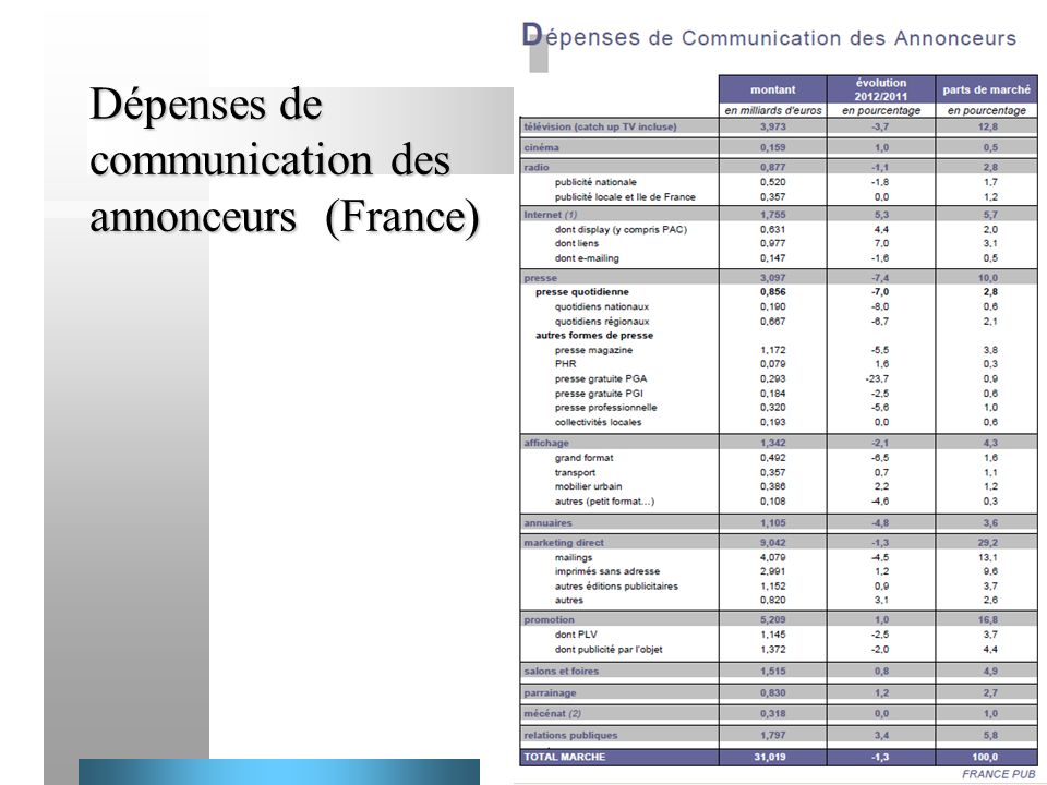 Dépenses de communication des annonceurs (France)
