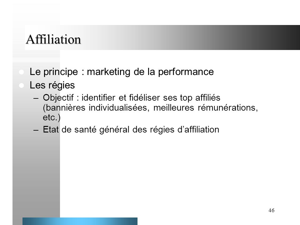 Affiliation Le principe : marketing de la performance Les régies