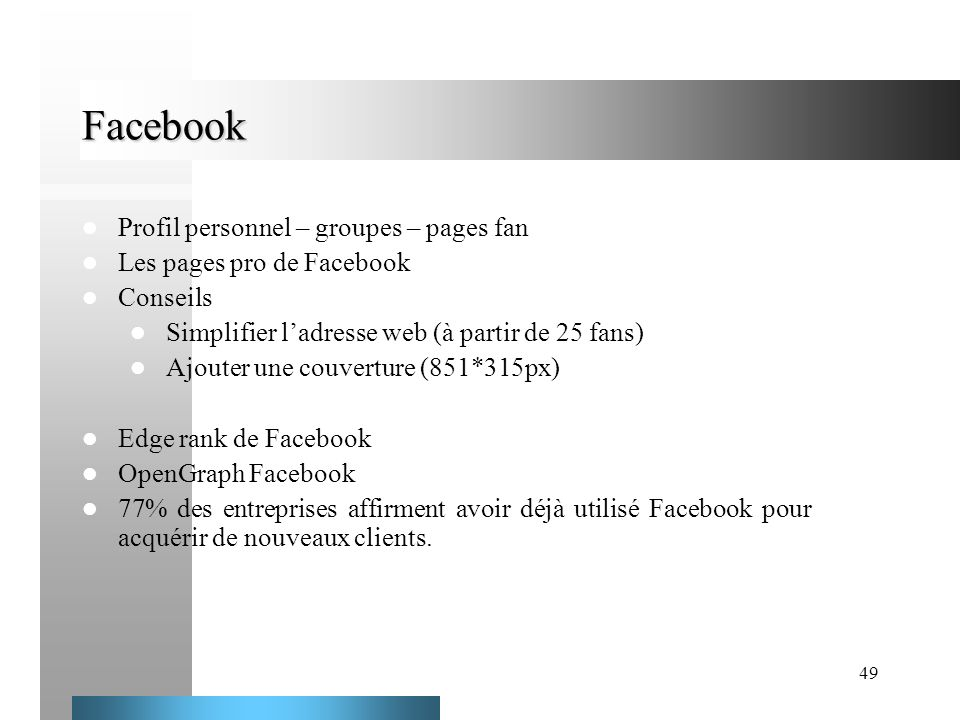 Facebook Profil personnel – groupes – pages fan
