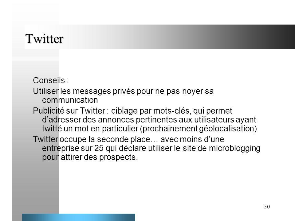 Twitter Conseils : Utiliser les messages privés pour ne pas noyer sa communication.