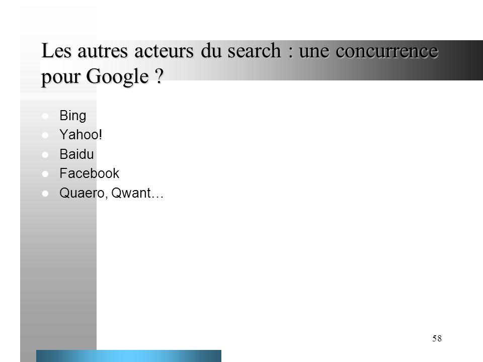 Les autres acteurs du search : une concurrence pour Google