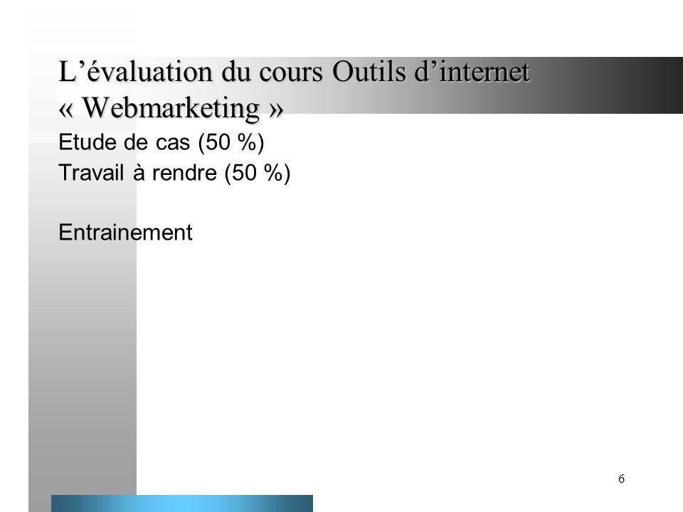 L'évaluation du cours Outils d'internet « Webmarketing »