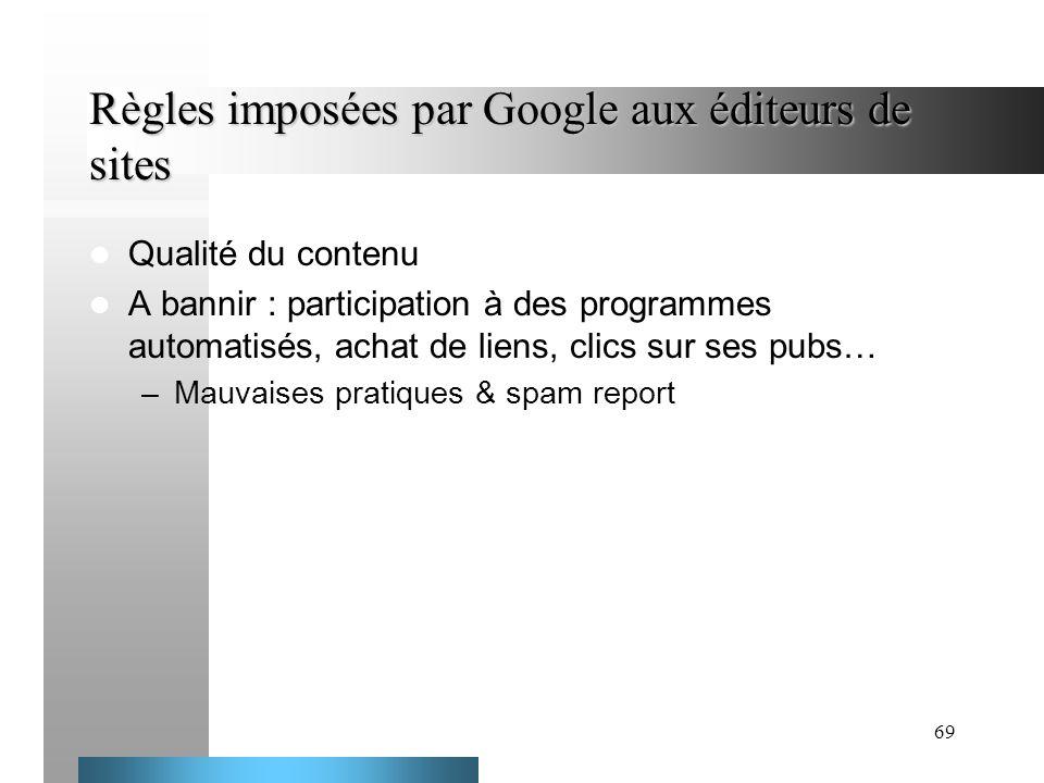 Règles imposées par Google aux éditeurs de sites