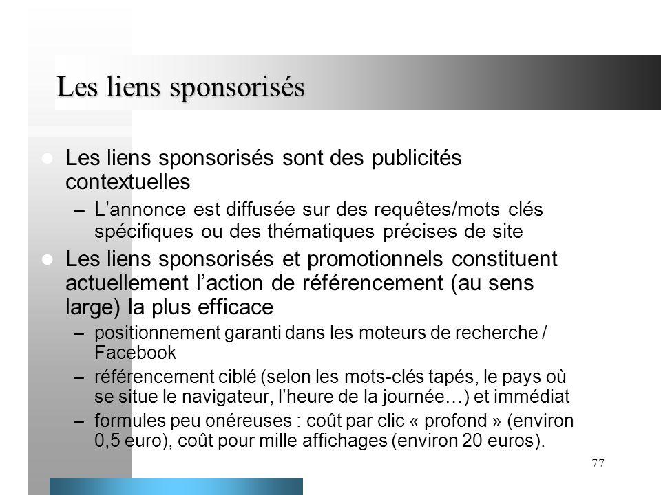 Les liens sponsorisés Les liens sponsorisés sont des publicités contextuelles