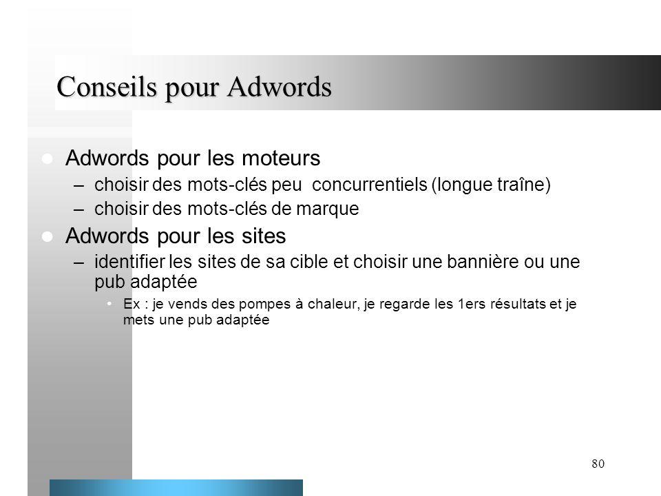 Conseils pour Adwords Adwords pour les moteurs Adwords pour les sites