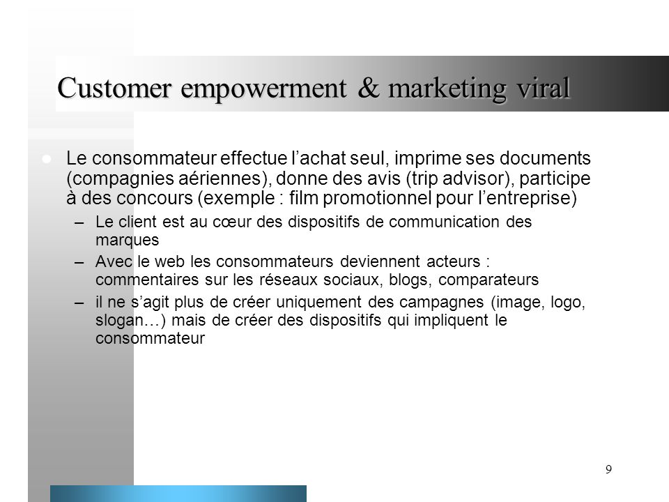 Customer empowerment & marketing viral