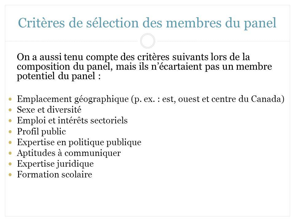 Critères de sélection des membres du panel