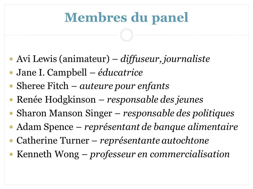Membres du panel Avi Lewis (animateur) – diffuseur, journaliste