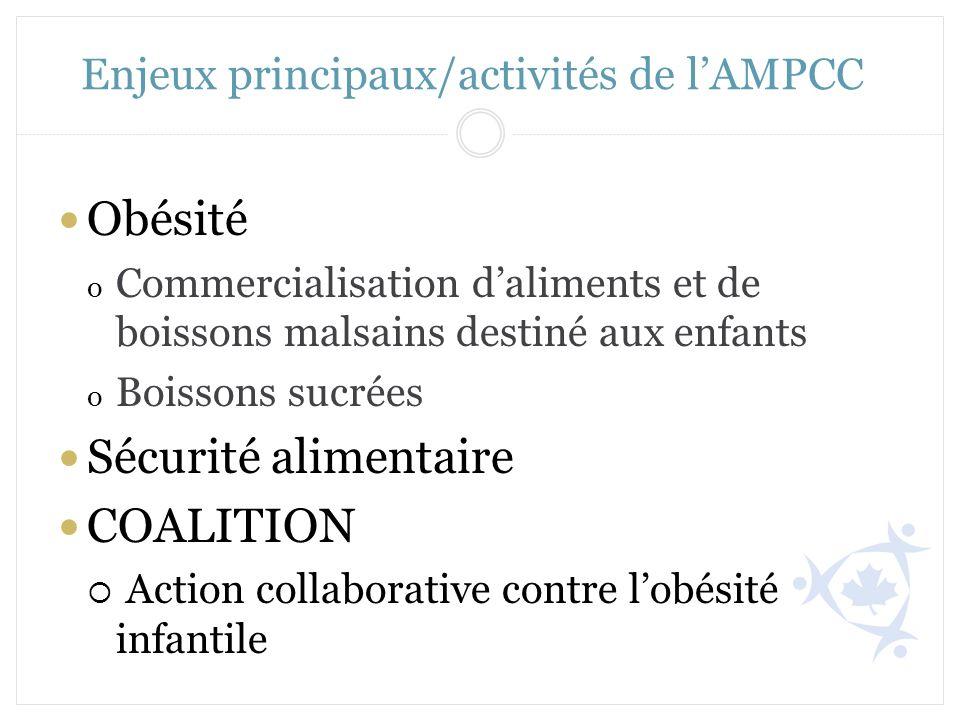 Enjeux principaux/activités de l'AMPCC