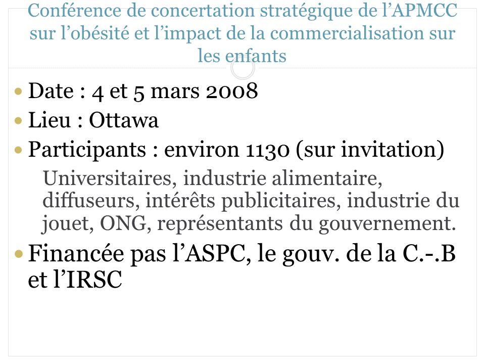 Financée pas l'ASPC, le gouv. de la C.-.B et l'IRSC