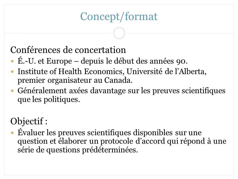 Concept/format Conférences de concertation Objectif :