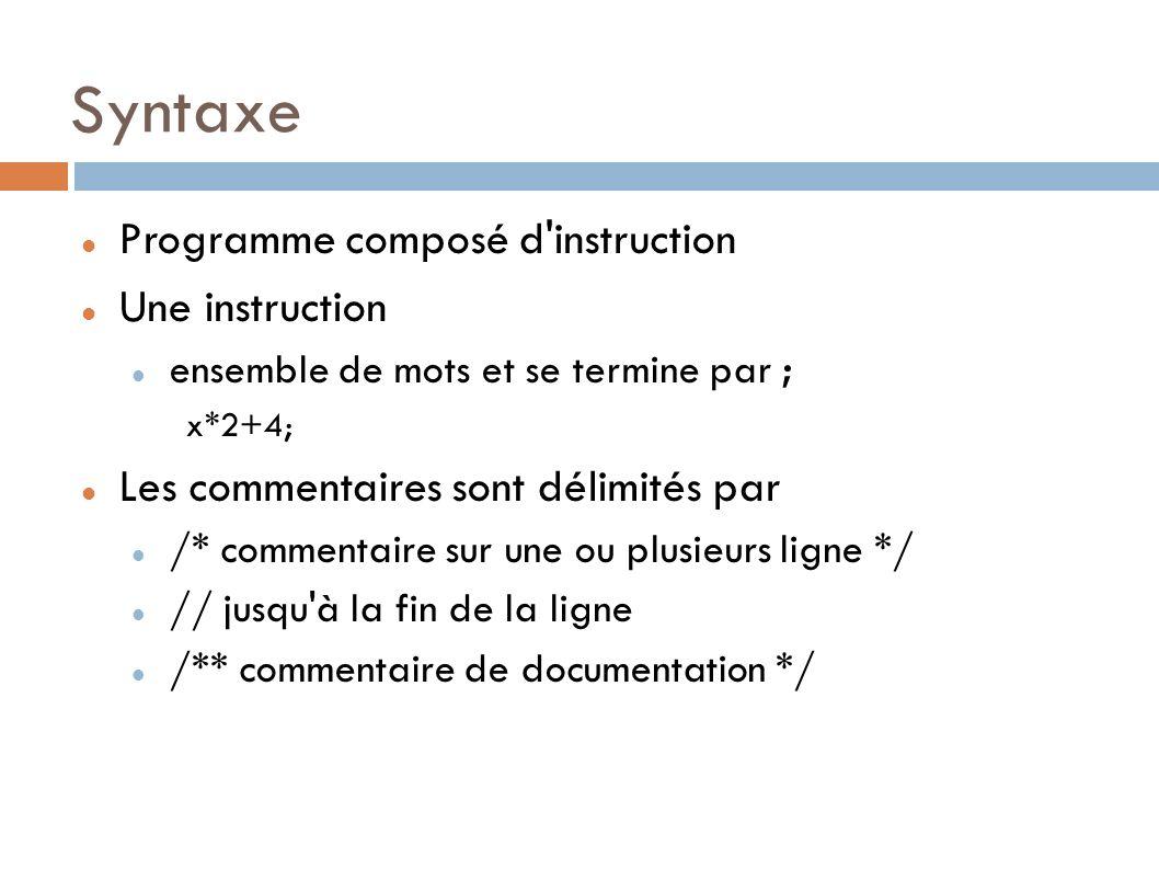 Syntaxe Programme composé d instruction Une instruction
