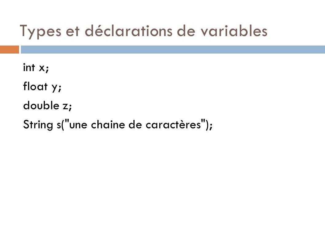 Types et déclarations de variables