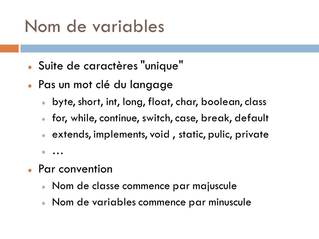 Nom de variables Suite de caractères unique