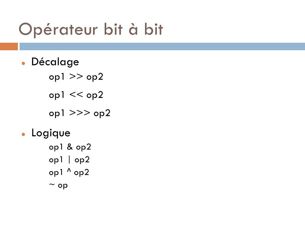 Opérateur bit à bit Décalage Logique op1 >> op2 op1 << op2