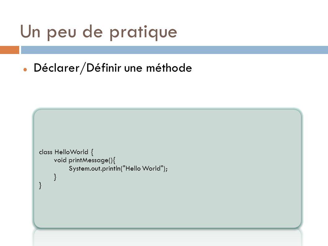 Un peu de pratique Déclarer/Définir une méthode class HelloWorld {