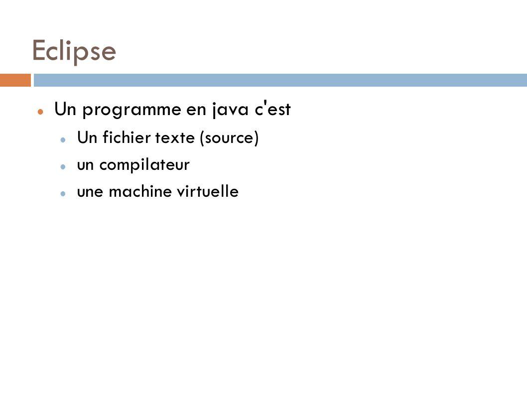 Eclipse Un programme en java c est Un fichier texte (source)