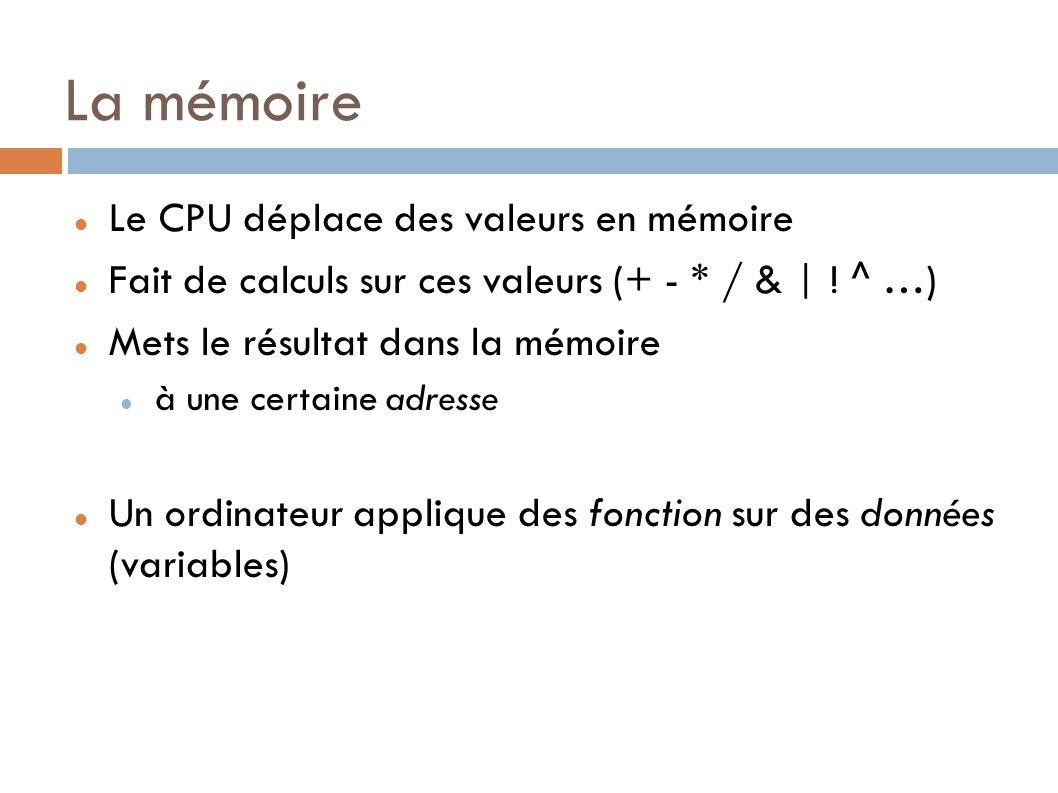 La mémoire Le CPU déplace des valeurs en mémoire