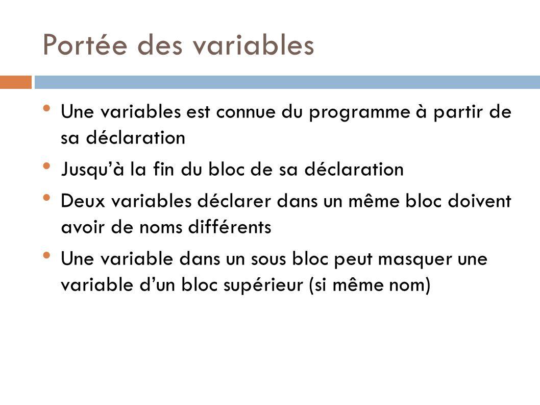 Portée des variables Une variables est connue du programme à partir de sa déclaration. Jusqu'à la fin du bloc de sa déclaration.