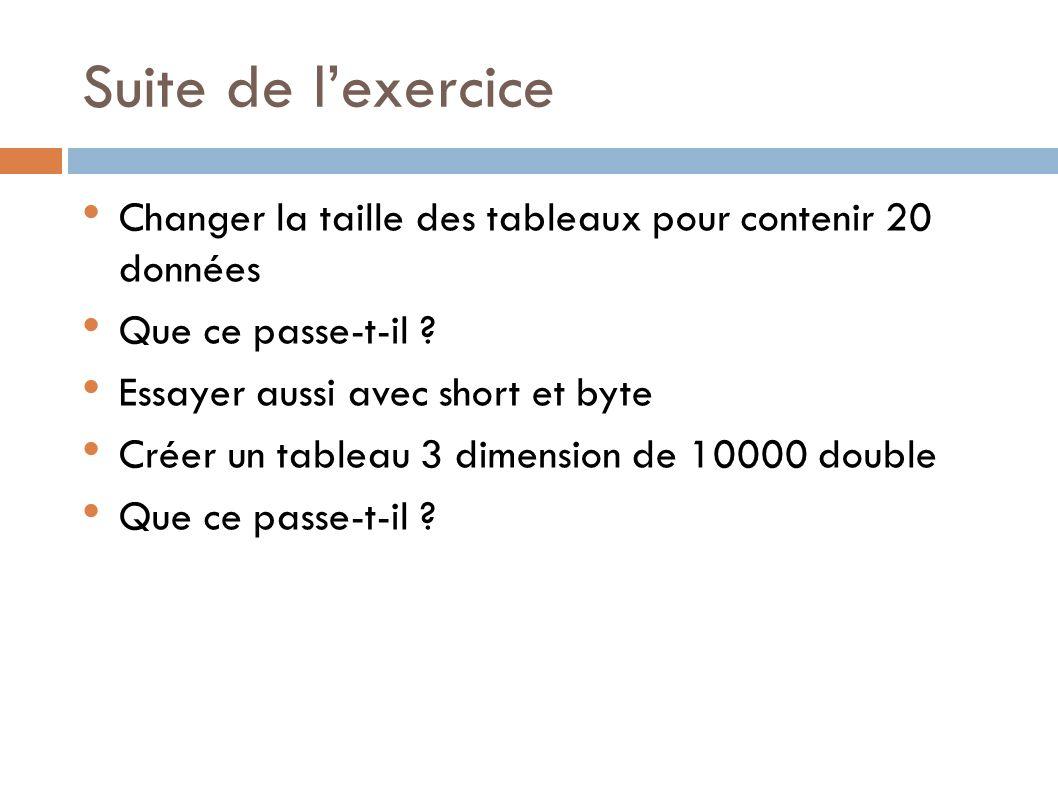 Suite de l'exercice Changer la taille des tableaux pour contenir 20 données. Que ce passe-t-il Essayer aussi avec short et byte.