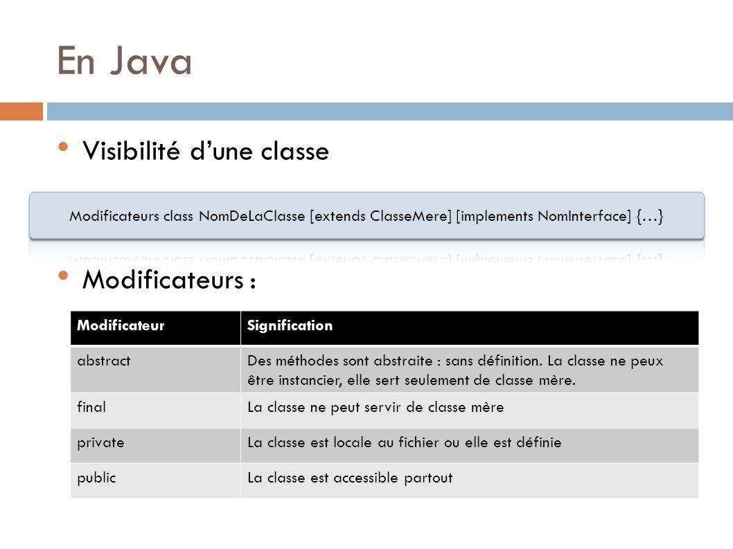 En Java Visibilité d'une classe Modificateurs :