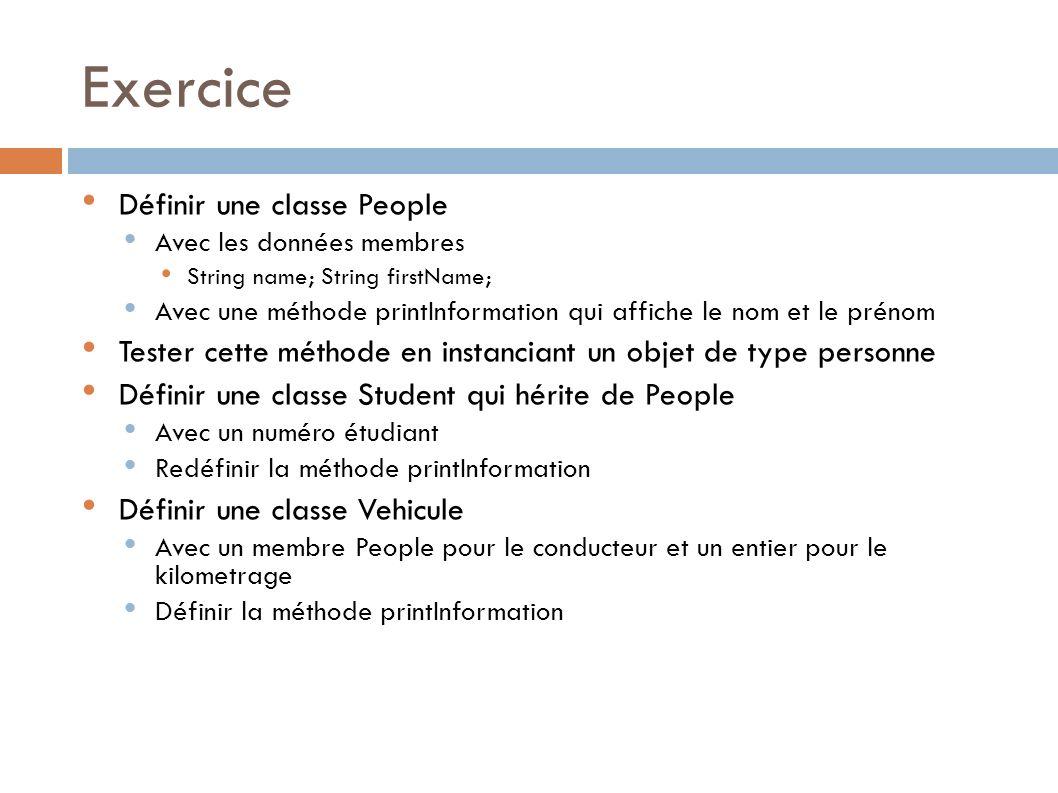 Exercice Définir une classe People