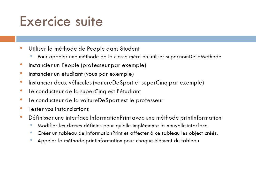 Exercice suite Utiliser la méthode de People dans Student