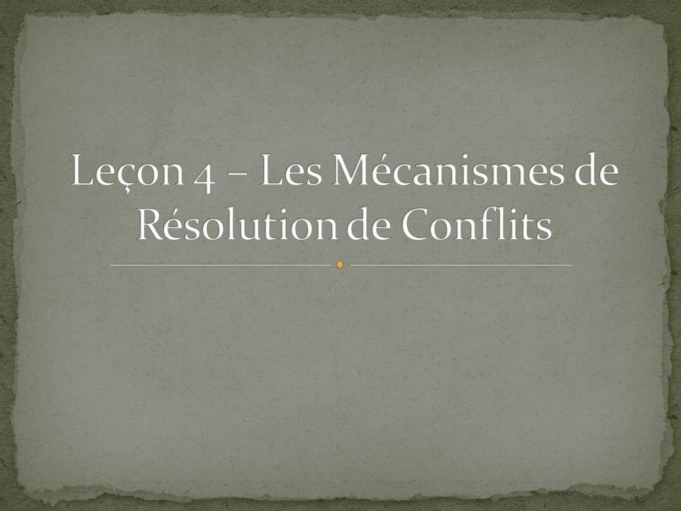 Leçon 4 – Les Mécanismes de Résolution de Conflits