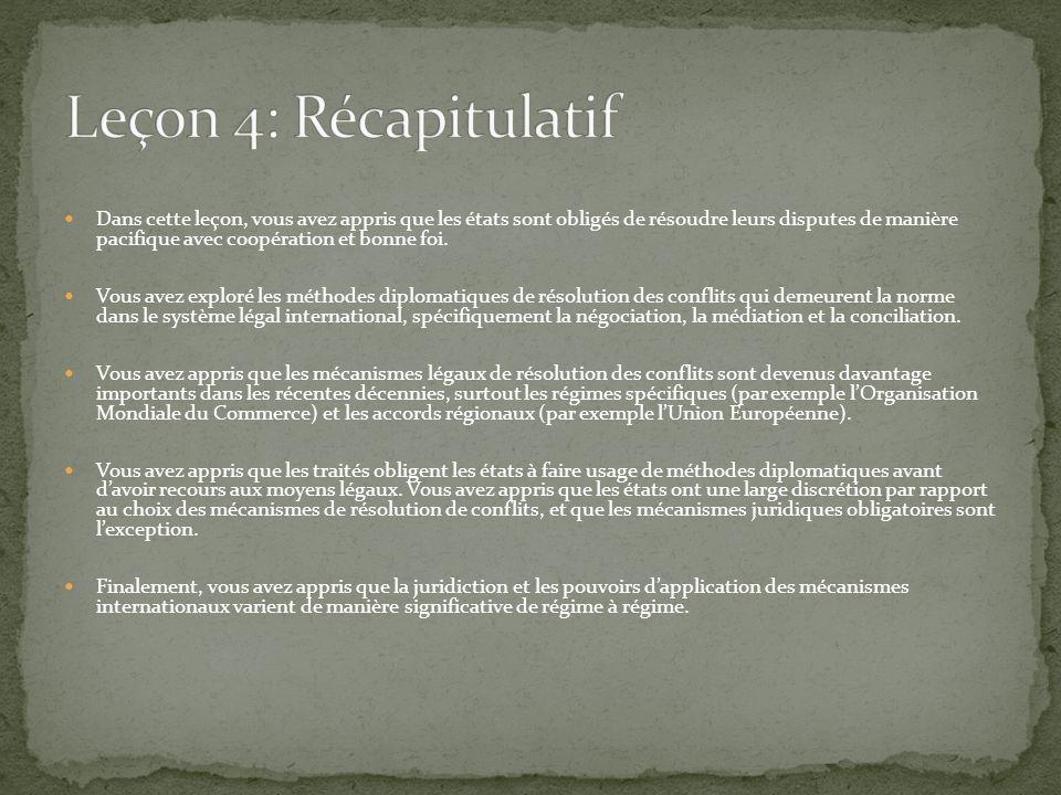 Leçon 4: Récapitulatif